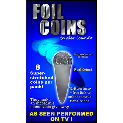 Foil Coin (8 Stretched Coins) by Alex Lourido - Trick