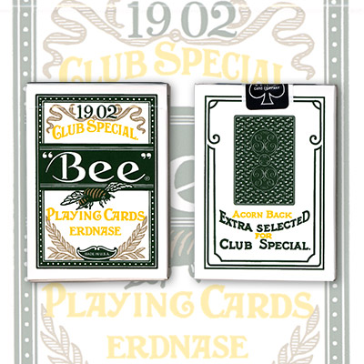 Erdnase 1902 Bee Playing Cards - Green Acorn Back (Cambric Finish) - Limited Edition by Conjuring Arts - Trick