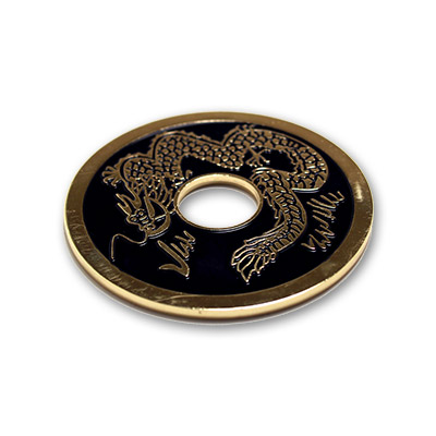 Chinese Coin (Black - 3 inch Jumbo Size) by Royal Magic - Trick