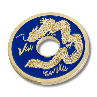 Chinese Coin (Blue - Half Dollar Size) by Royal Magic - Trick
