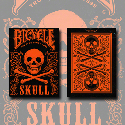 Bicycle Skull Metallic (Orange) USPCC by Gambler's Warehouse - Trick