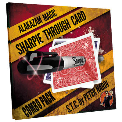 Sharpie Through Card Combo Pack (DVD and Gimmick) Red and Blue by Alakazam Magic - DVD