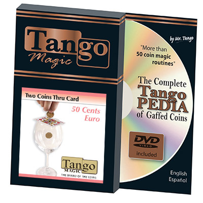 Two Coins Thru Card (w/DVD)(E0016) (50 cent Euro) by Tango - Trick