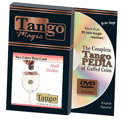 Two Coins Thru Card (w/DVD)(D0018) (Half Dollar) by Tango - Trick