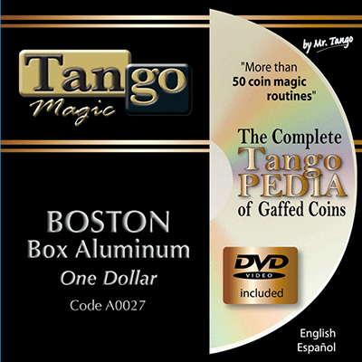 Boston Coin Box (One Dollar Aluminum w/DVD)(A0027) by Tango Magic - Tricks