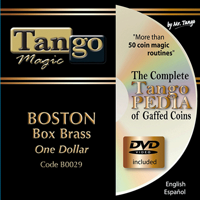 Boston Coin Box (Brass One Dollar w/DVD)(B0029) by Tango Magic - Trick