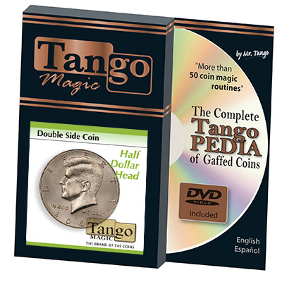 Double Side Half Dollar (Heads w/DVD) (D0035H) by Tango Magic - Trick