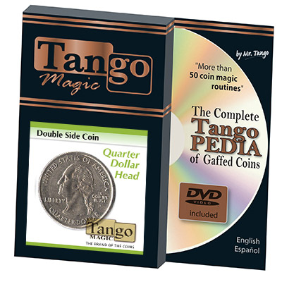 Double Side Quarter (Heads w/DVD)(D0078) by Tango - Tricks