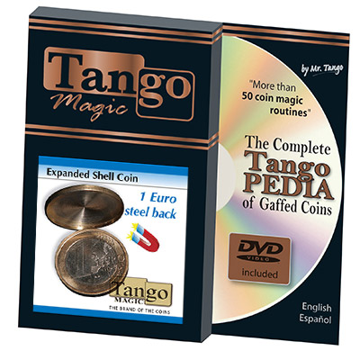 Expanded Shell Coin - (1 Euro, Steel Back w/DVD) by Tango Magic - Trick (E0066)