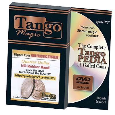 Flipper Coin Pro Elastic System Quarter Dollar (D0148) by Tango Magic - Trick