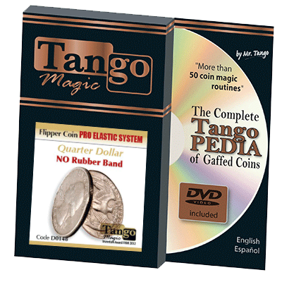 Flipper Coin Pro Elastic System (Quarter Dollar DVD w/Gimmick)(D0148) by Tango - Trick