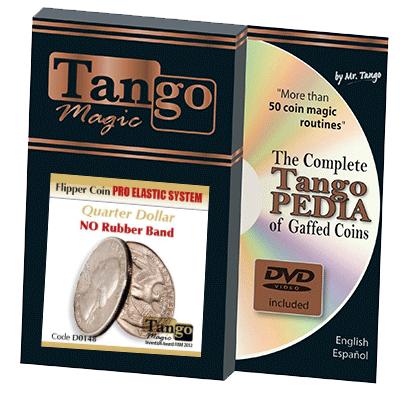 Flipper Coin Pro Elastic System (Quarter Dollar DVD w|Gimmick)(D0148)