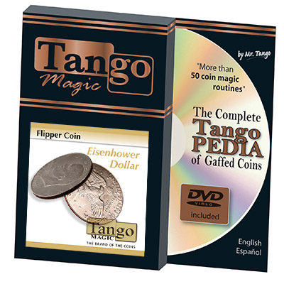 Flipper Coin Eisenhower Dollar (w/DVD)(D0038) by Tango - Trick