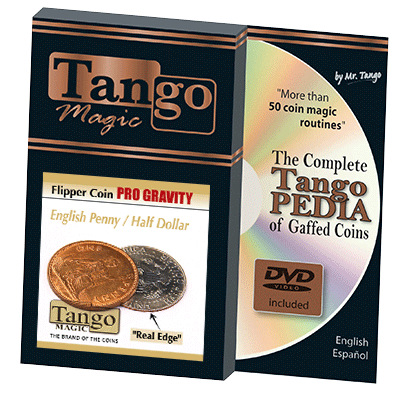 Flipper Coin PRO Gravity English Penny/Half Dollar (w/DVD)(D0103)- Tango - Trick