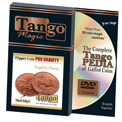 Flipper coin Pro Elastic System - English Penny (D0107) by Tango Magic