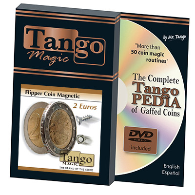 Magnetic Flipper Coin (2 Euro w/DVD) by Tango- Trick (E0034)