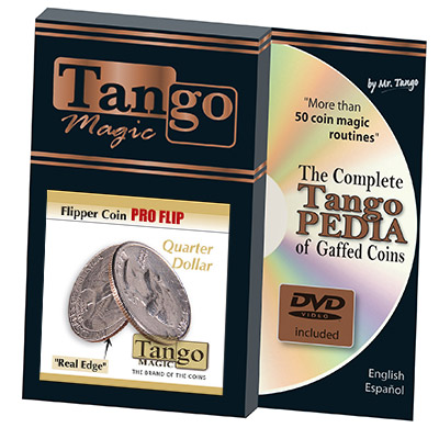 Flipper coin Pro Flip Quarter dollar (w/DVD)(D0105) by Tango