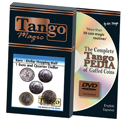 Euro-Dollar Hopping Half (1 Euro and Quarter Dollar w/DVD) by Tango Magic-Trick (ED004)