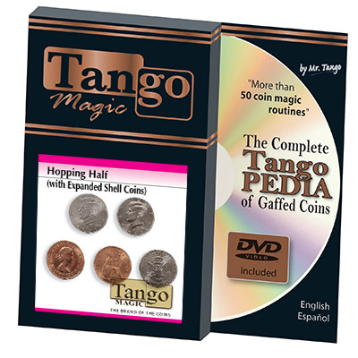 Hopping Half with Expanded Shell Coins & English Penny D0059 by Tango - Trick