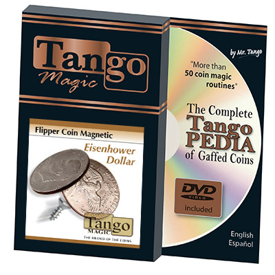 Magnetic Flipper Coin Eisenhower Dollar (w/DVD)(D0041) by Tango - Trick