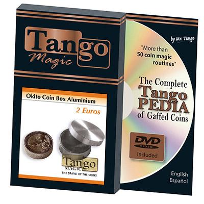 Okito Coin Box Aluminum 2 Euro (w/DVD) by Tango - Trick (A0002)