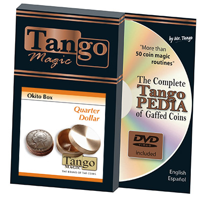 Okito Box (Brass w/DVD) - US Quarter by Tango Magic -Trick (B0010)