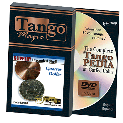 Slippery Shell Quarter (w/DVD)(D0128) by Tango Magic - Tricks