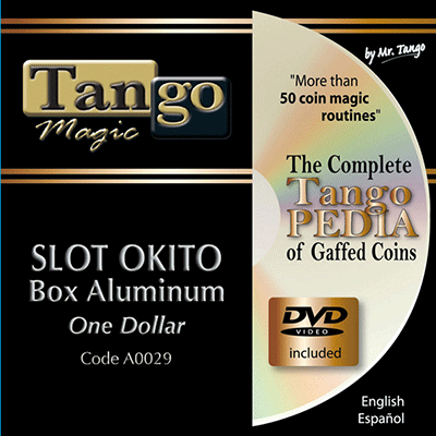 Slot Okito Coin Box (Aluminum w/DVD)(A0029) One Dollar by Tango Magic - Tricks