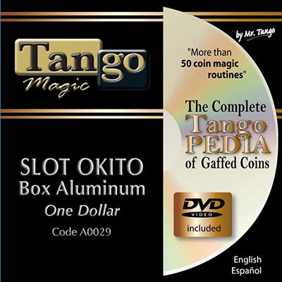 Slot Okito Coin Box (Aluminum w/DVD)(A0029) One Dollar by Tango Magic - Tricks