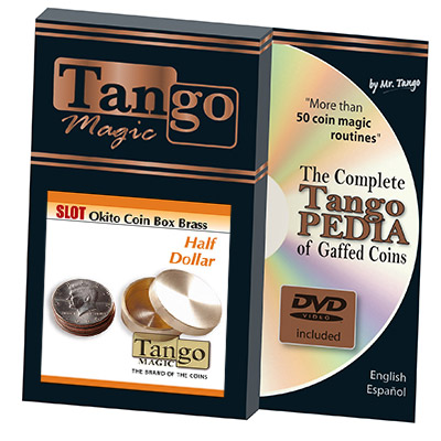 Slot Okito Coin Box Brass Half Dollar (w/DVD)(B0019)by Tango -Trick