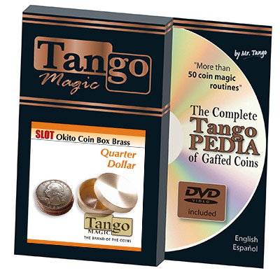 Slot Okito Coin Box Brass Quarter (w/DVD) by Tango -Trick (B0018)