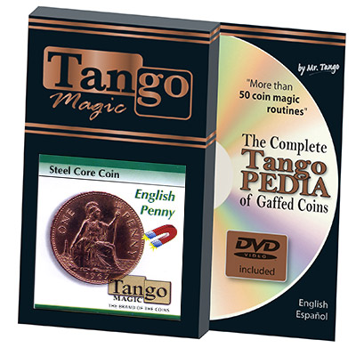 Steel Core Coin English Penny (w/DVD)(D0031) by Tango - Trick