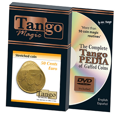 Stretched Coin 50 cents Euro (w/DVD) by Tango - Trick (E0074)