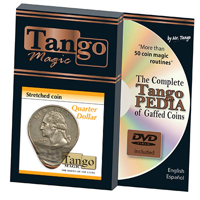 Stretched Coin Quarter Dollar (w/DVD) by Tango- (D0095)