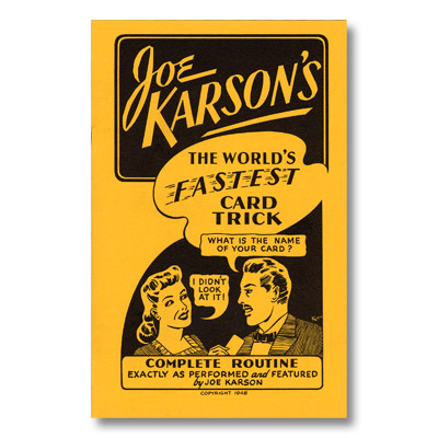 World's Fastest Card Trick by Joe Karson - Book