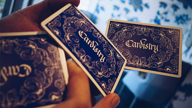 Cardistry calligraphy blue playing cards